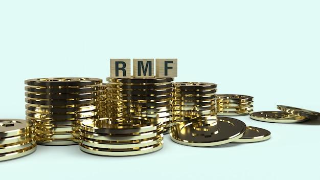 Texto rmf no cubo de madeira e racum, renderização em 3d
