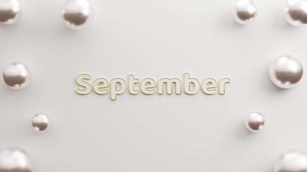 Texto setembro com fundo branco elegante com espaço de cópia prata de balões realistas