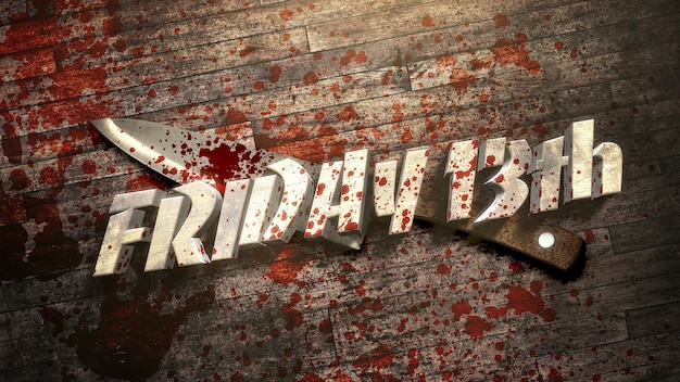 Texto sexta-feira 13 sobre fundo de terror místico com sangue escuro e facas, pano de fundo abstrato. ilustração 3d luxuosa e elegante do tema terror