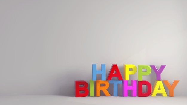 Texto simples de feliz aniversário colorido perto de um papel de parede cinza