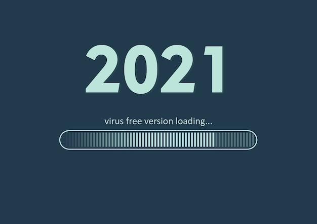 Texto - versão 2021 sem vírus carregando e barra de carregamento no verde do mar