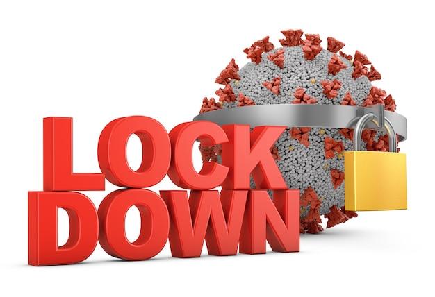 Texto volumétrico vermelho lockdown e coronavírus com um cadeado
