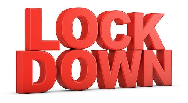 Texto volumétrico vermelho lockdown em uma superfície branca