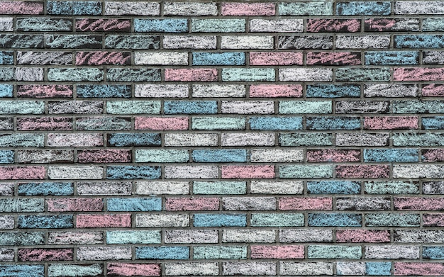 Textura colorida de uma parede de tijolos