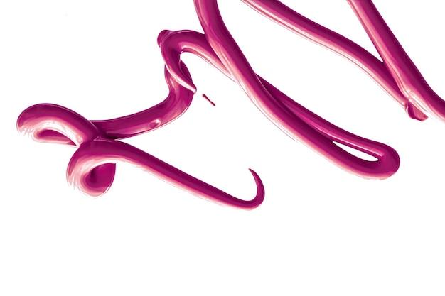 Textura cosmética de beleza roxa isolada no fundo branco manchada de creme de emulsão de maquiagem ou mancha de base de produtos cosméticos e pinceladas
