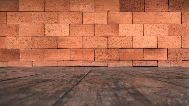 Textura da parede de tijolo e fundo do assoalho de madeira
