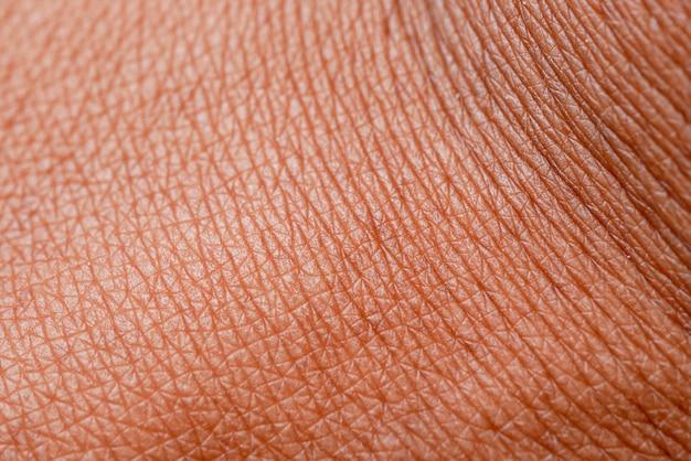 Textura da pele. pele escura da macro de mão de mulher.