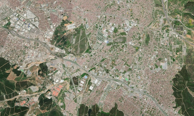 Textura da vista superior do satélite sobre istambul