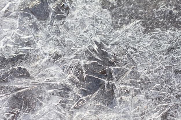 Textura de água congelada close-up. fundo natural. textura de gelo