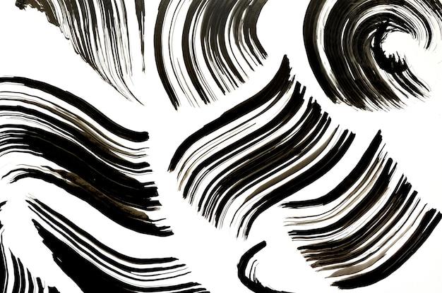 Textura de aquarela pintada de preto. pincel de tinta de manchas de aquarela. desenho à mão no padrão de fundo abstrato branco