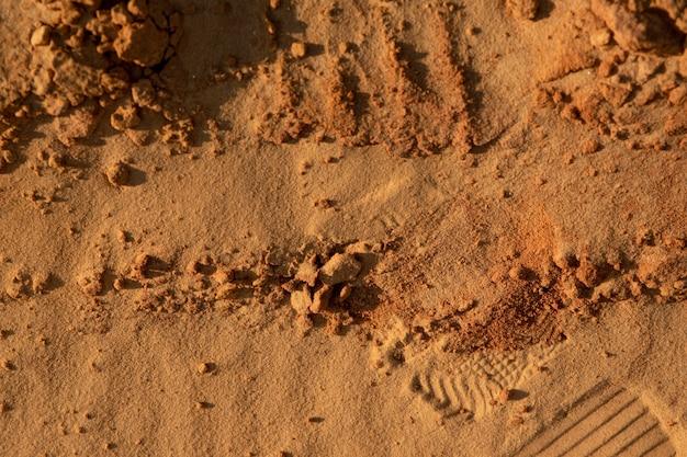 Textura de areia com pegadas