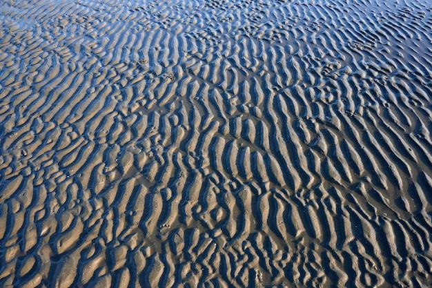 Textura de areia molhada em uma praia durante a maré baixa.