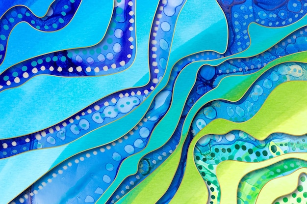 Textura de arte gradiente de mar com gotas de aquarela.