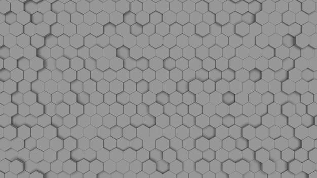 Textura de célula hexagonal cinza. favo de mel em um fundo cinza neutro. geometria isométrica.
