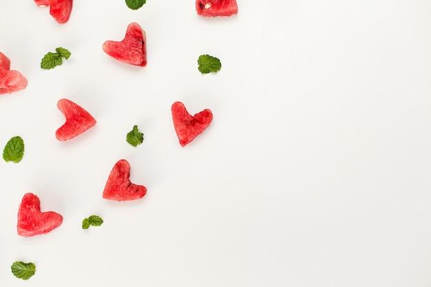 Textura de coração de melancia