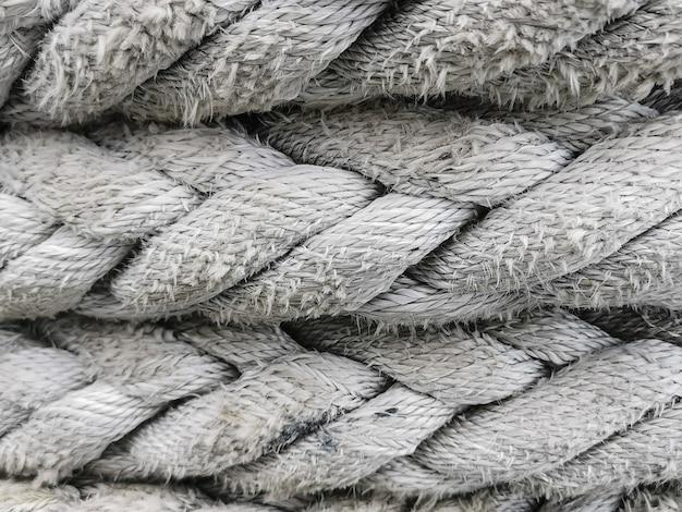 Textura de corda branca close-up. fundo abstrato