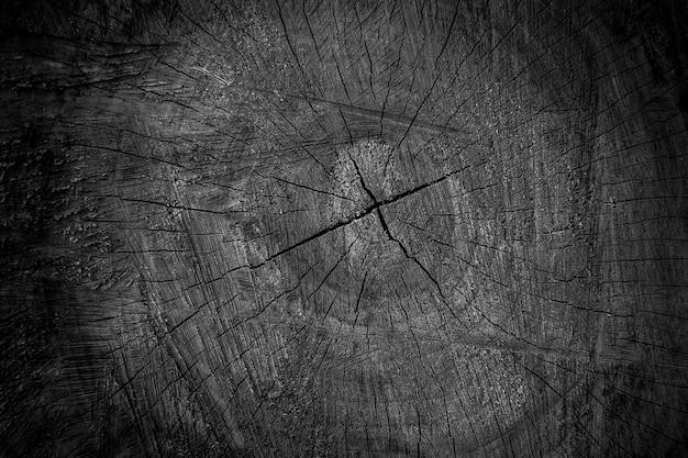 Textura de corte de madeira preta, close-up do fundo