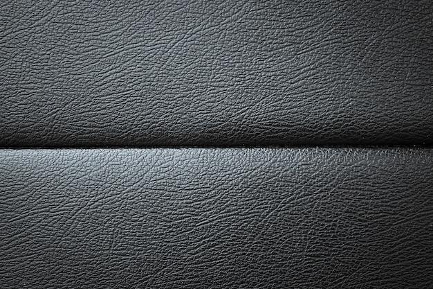 Textura de couro de sofá preto close-up