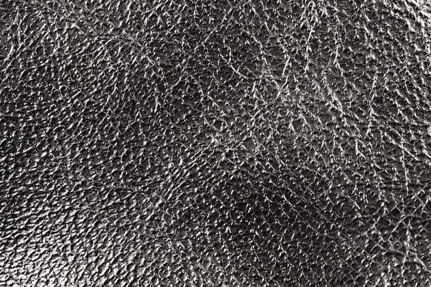Textura de couro prateado e close up do fundo