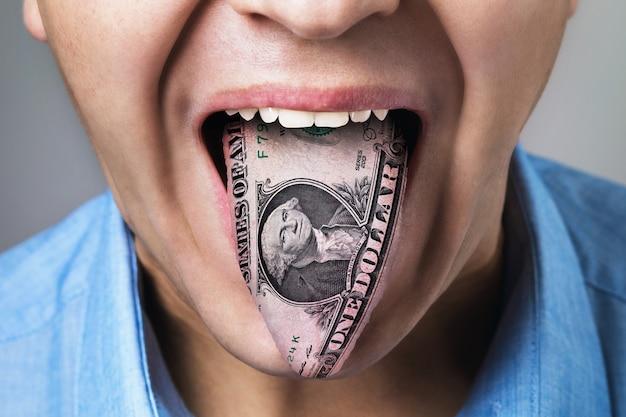 Textura de dinheiro americano em língua humana