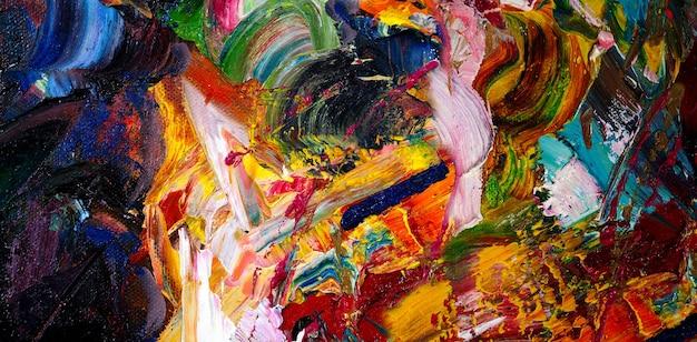 Textura de fundo abstrato de traçado de pincel de pintura a óleo colorido.