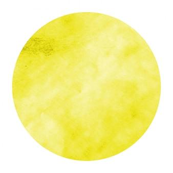 Textura de fundo amarelo aquarela mão desenhada moldura circular com manchas