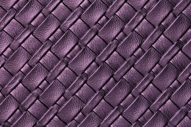 Textura de fundo de couro roxo escuro e lavanda com padrão de vime