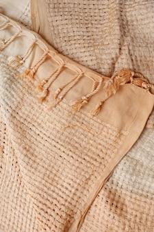 Textura de fundo de pano creme, lindo close-up de pano
