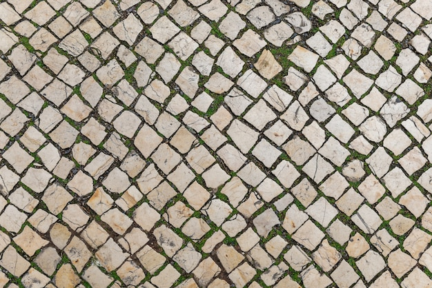 Textura de fundo de pedra estrada, vista superior da textura rua telha