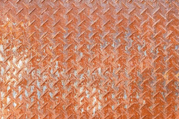 Textura de fundo de placa de aço diamante enferrujado