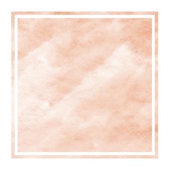 Textura de fundo laranja moldura retangular aquarela desenhada à mão com manchas