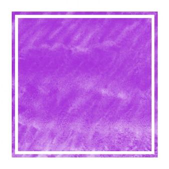 Textura de fundo roxo aquarela mão desenhada moldura retangular com manchas