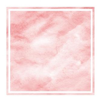 Textura de fundo vermelho aquarela moldura retangular mão desenhada com manchas