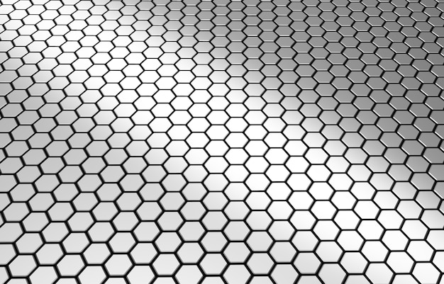 Textura de hexágono de tecnologia futurista superfície brilhante em mosaico de favo de mel