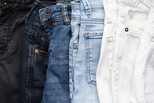 Textura de jeans jeans ou jeans jeans, vista superior. fechar-se.