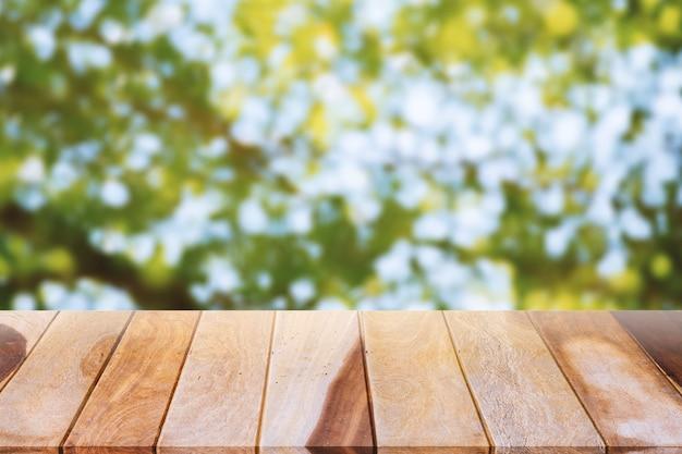 Textura de madeira natural, bokeh de fundo para projetar e colocar produtos
