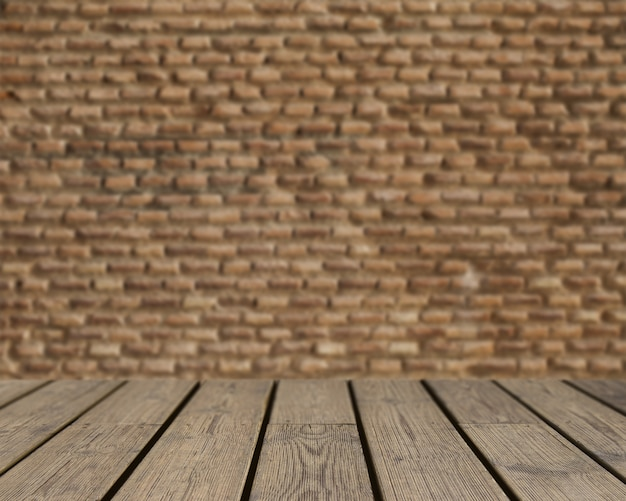 Textura de madeira olhando para a parede de tijolos