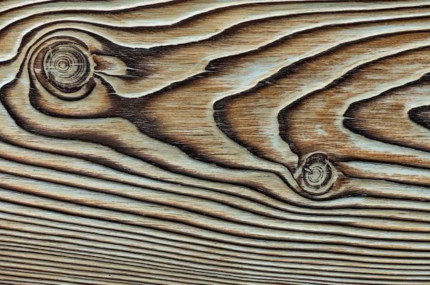 Textura de madeira vintage com nós. closeup vista superior para plano de fundo ou obras de arte.