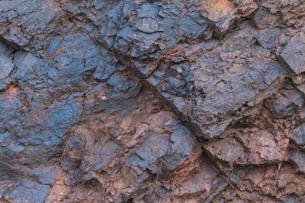 Textura de minério de ferro close-up - minerais naturais na mina. textura de pedra de poço aberto. extração de minerais para indústria pesada - a textura da rocha contendo minério de ferro e cobre.