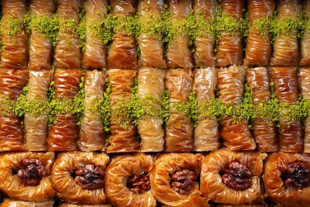 Textura de padrão alimentar de vista superior de baklava turca
