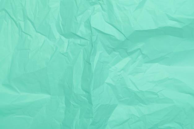 Textura de papel amassado de hortelã, fundo verde, papel de parede