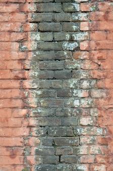 Textura de parede de tijolo velho resistido e manchado