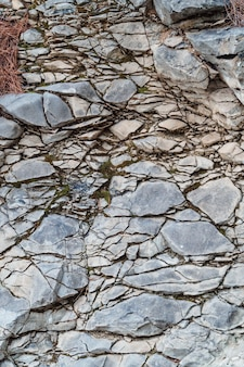 Textura de parede rachada de granito cinza