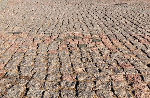 Textura de pedras de pavimento de pedra tijolos de paralelepípedos