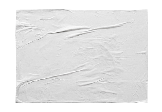 Textura de pôster de papel adesivo branco amassado e amassado em branco isolada no fundo branco