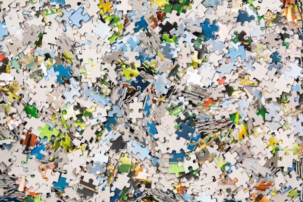 Textura de quebra-cabeças closeup. vista superior