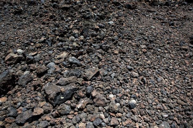 Textura de solo de pedras vulcânicas negras