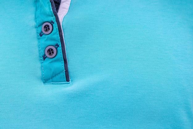 Textura de tecido azul com fundo de gola buttondown