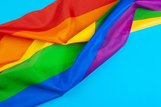 Textura de tecido da bandeira do arco-íris gay close-up