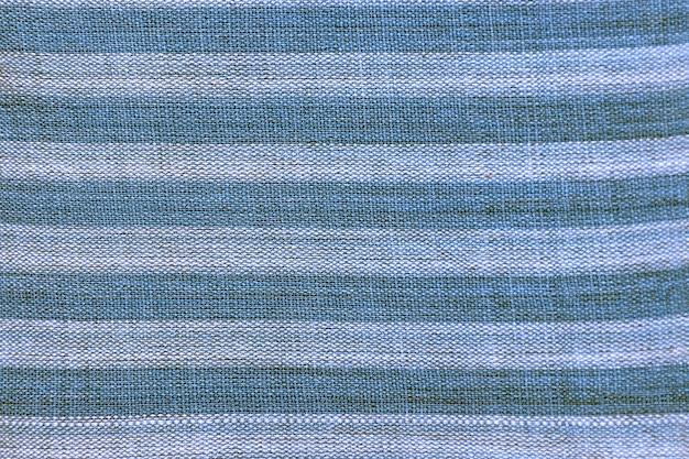 Textura de tecido de algodão listrado de azul e branco